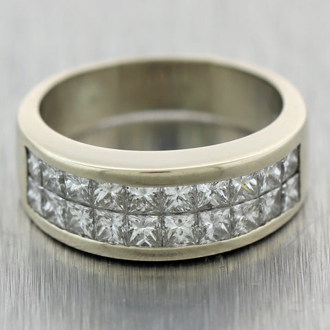 Vintage Estate 18k White Gold 1.50ctw Invisible Set Diamond Wedding Band Ring