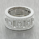ALOR Modern Designer Heavy 18k Solid White Gold Diamond 10mm Wide Band Ring