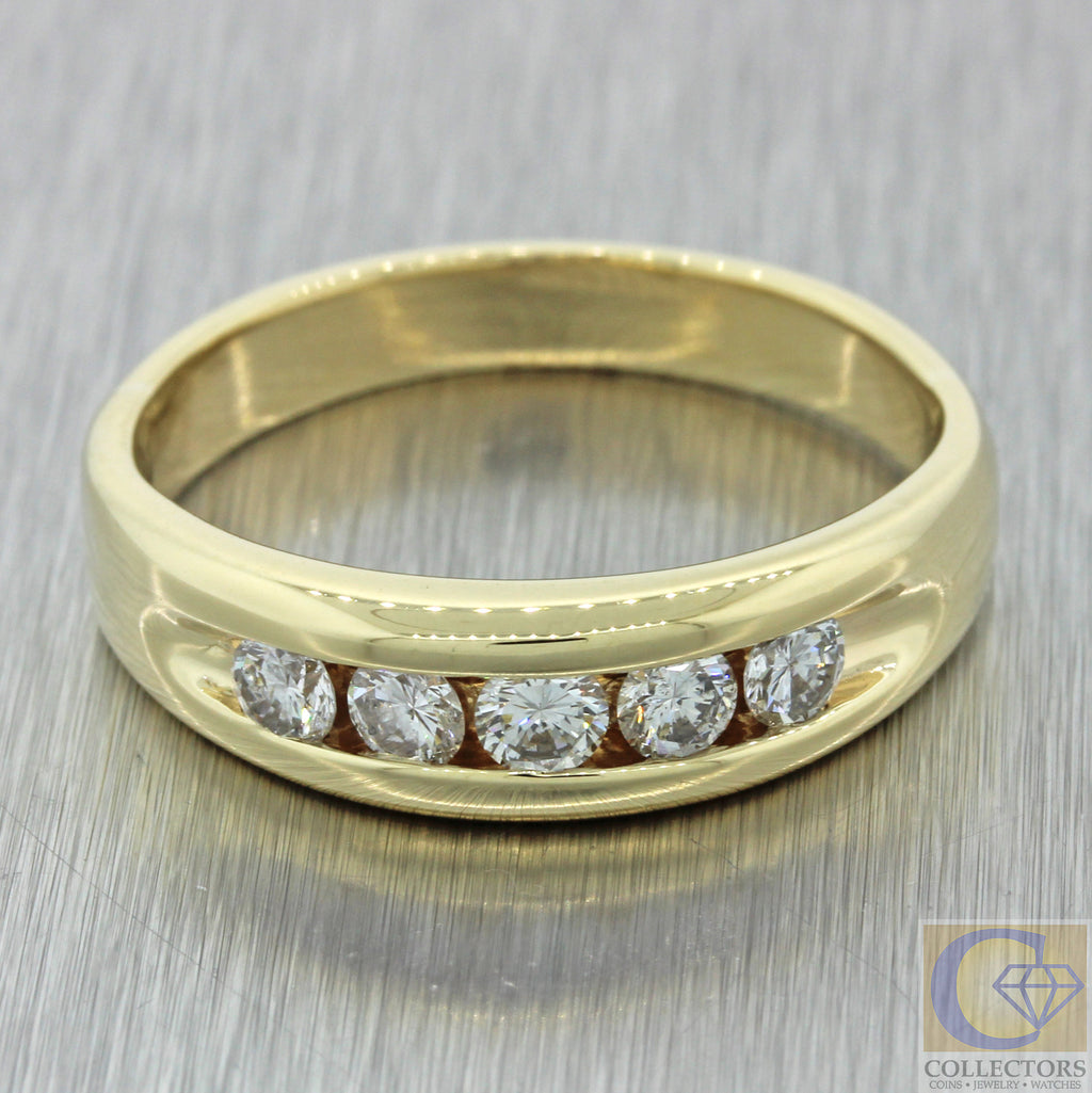 Men's 14k Solid Yellow Gold .70ctw Diamond 6mm Wedding Band Ring 8.3g