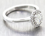 Modern 14k White Gold .56ctw Oval Diamond Halo Engagement Ring EGL $1760 G8