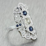 1930s Antique Art Deco 14k Solid White Gold 1.28ctw Diamond Sapphire Ring