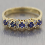 Vintage Estate 14k Yellow Gold 0.60ctw Diamond & Sapphire Wedding Band Ring