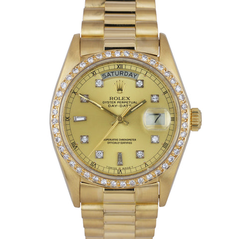 Rolex Day-Date Presidential President 36mm Diamond Dial 18038 18K Gold Watch