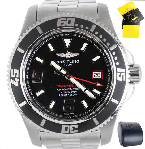 Mint Men's Breitling SuperOcean 44 A17391 Black Red 44mm Stainless Steel Watch