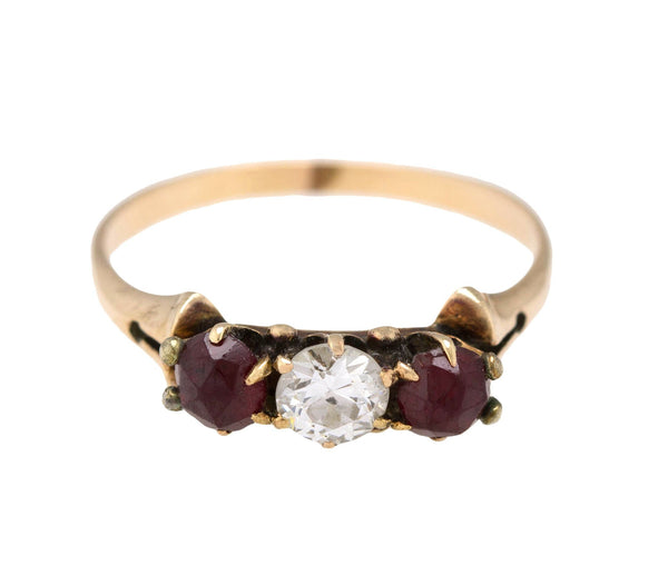 1880's Antique Victorian 14K Rose Gold 0.81ctw Diamond Ruby Band Ring