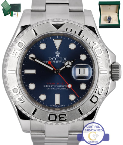 2015 Rolex Yacht-Master Rhodium 116622 Stainless Platinum Blue 40mm Swiss Watch