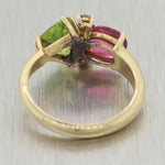 Vintage Estate 14k Yellow Gold Pink & Green Tourmaline Diamond Ring