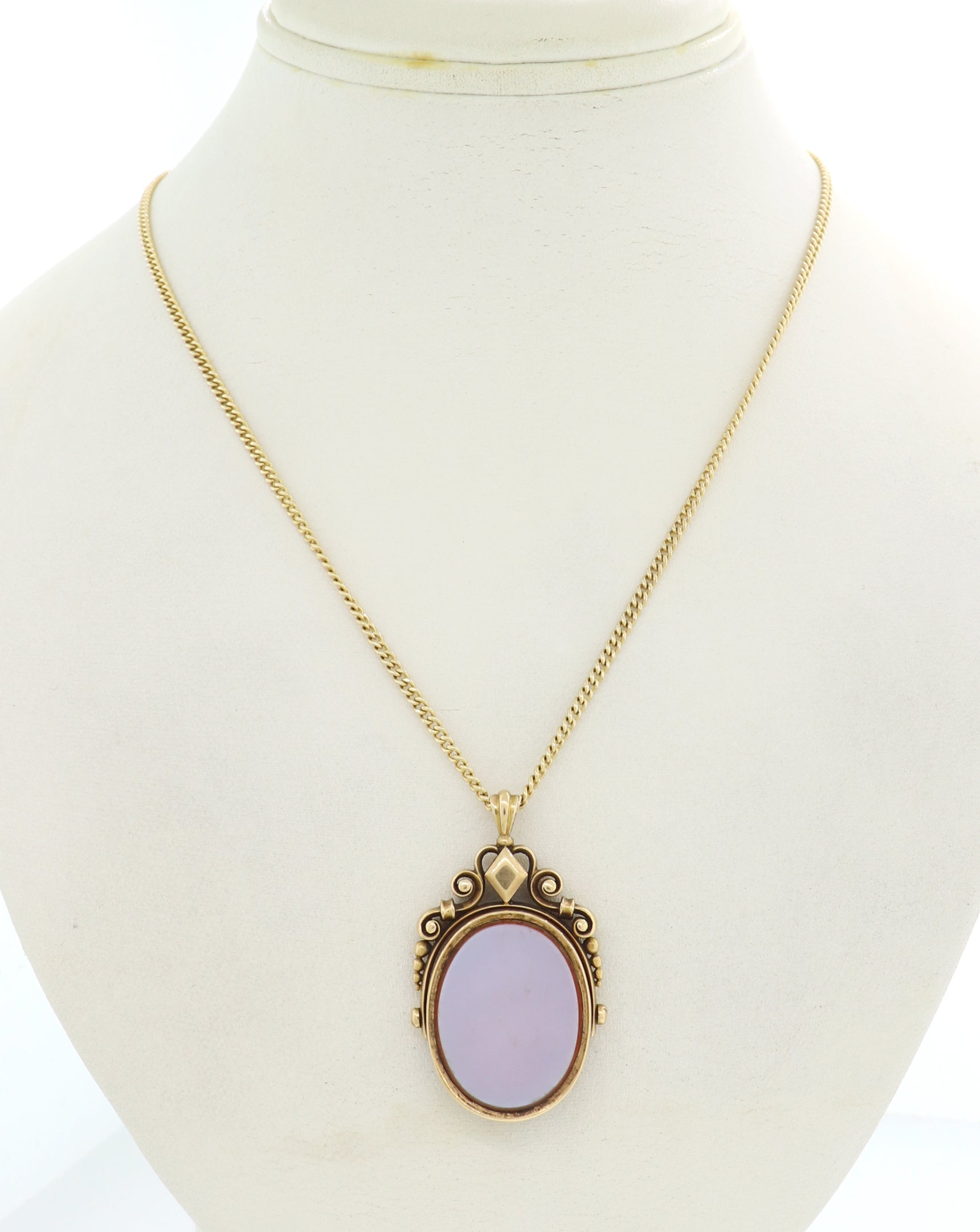 "1890's Antique Victorian 14k Yellow Gold Agate 19"" Necklace"