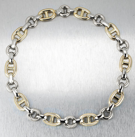 "Ladies Italian 14K Two-Tone Yellow & White Gold 17.00"" Fancy Gucci Link Necklace"