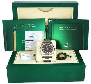 NEW 2020 Rolex Oyster Perpetual 36 Red Grape Purple 116000 Stainless 36MM Watch