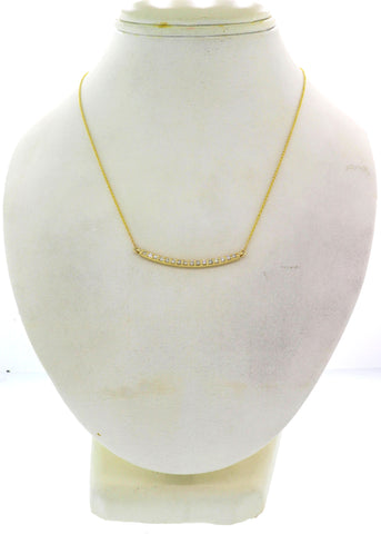 Modern Estate 14k Yellow Gold .35ctw I/SI1 Diamond Bar Chain Necklace G8