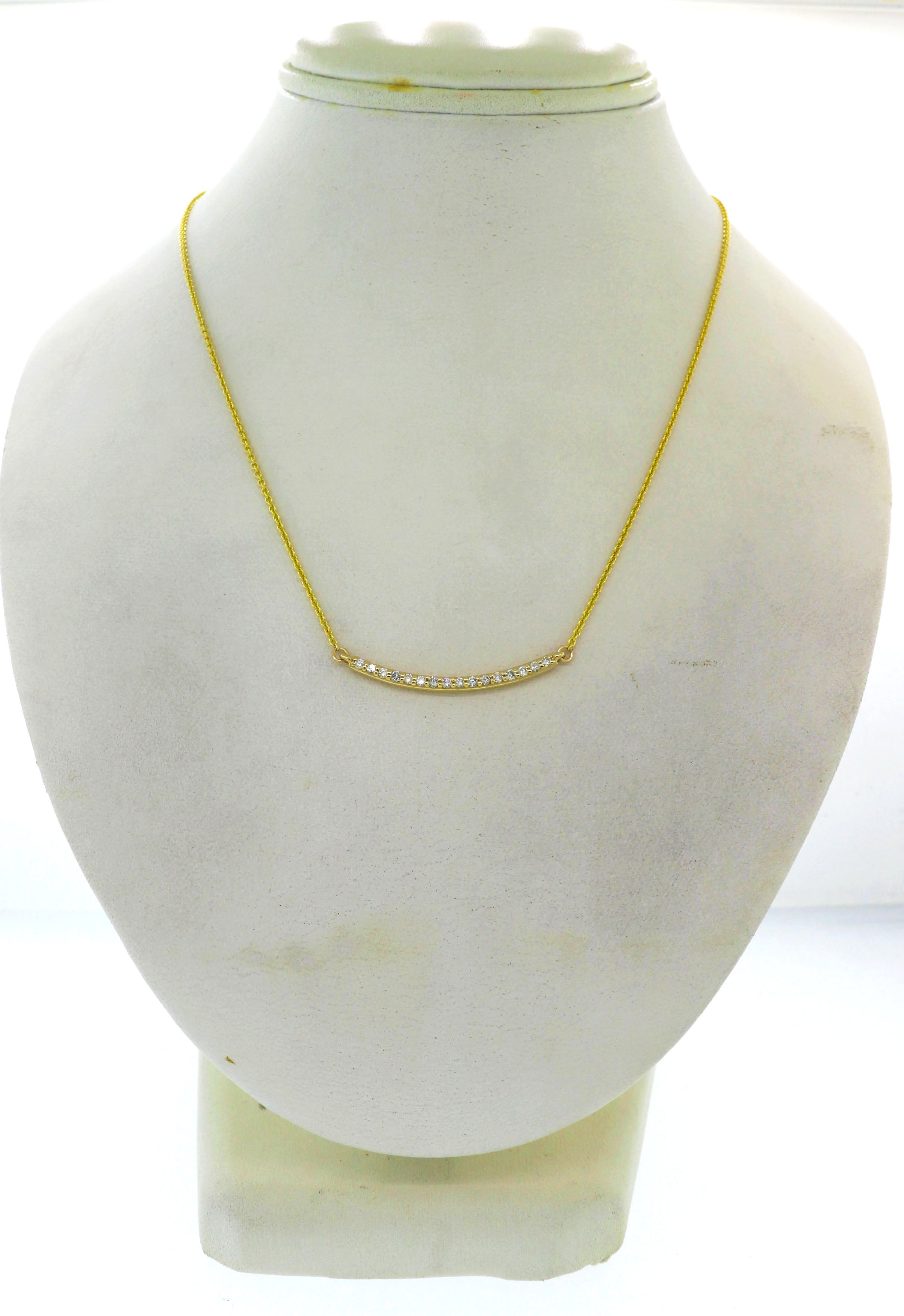 Modern Estate 14k Yellow Gold .25ctw I/SI1 Diamond Bar Chain Necklace G8