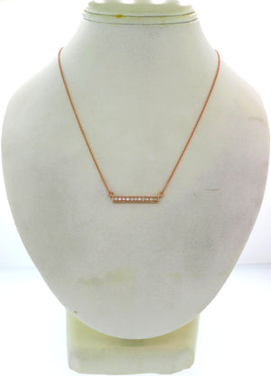 Modern Estate 14k Rose Gold .20ctw I/SI1 Diamond Bar Chain Necklace G8