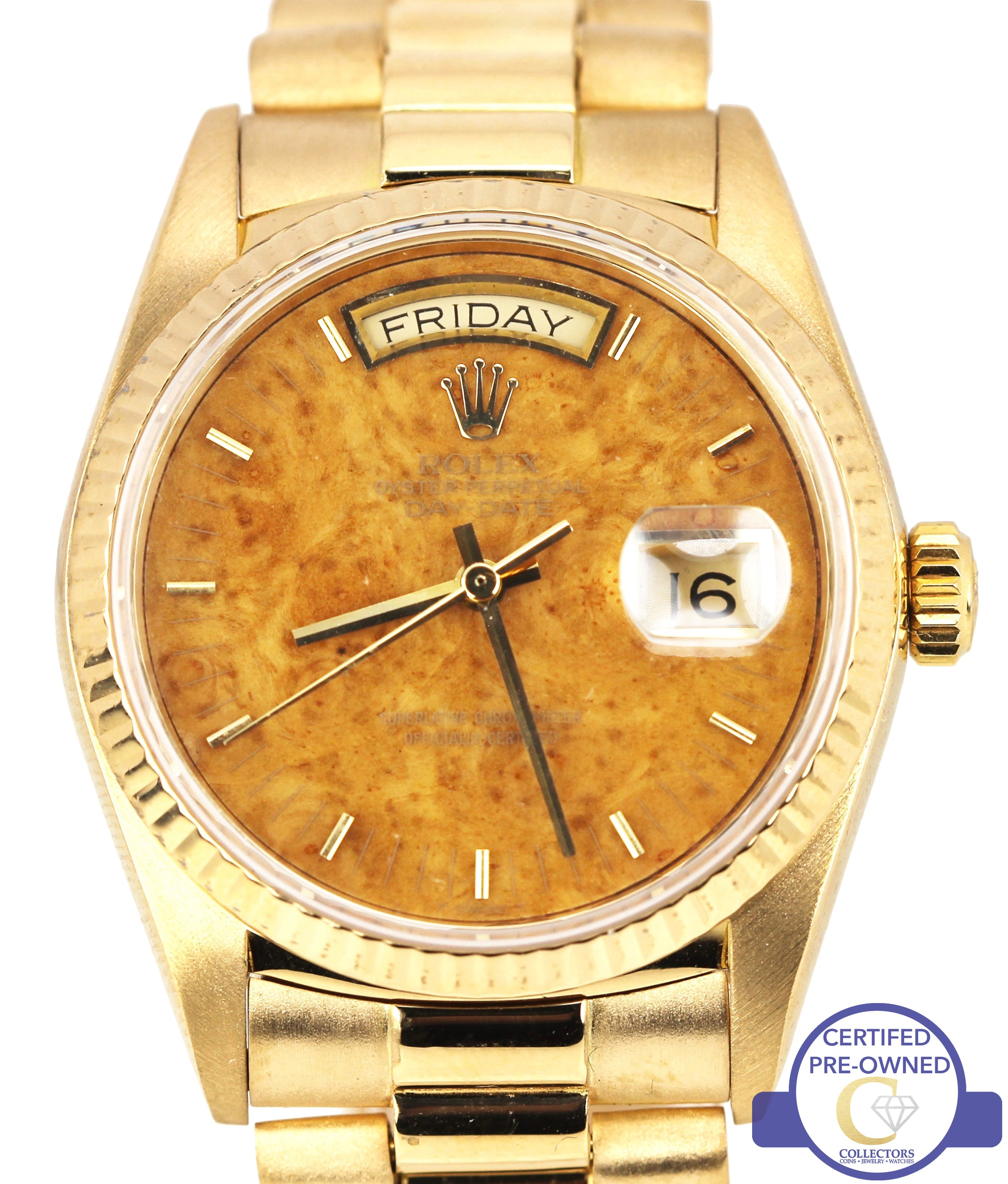 Rolex Day-Date President 36mm 18038 18K Gold Burl Wood Watch Presidential
