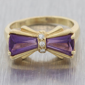 Vintage Estate 14k Yellow Gold Amethyst & Diamond Bow Ring