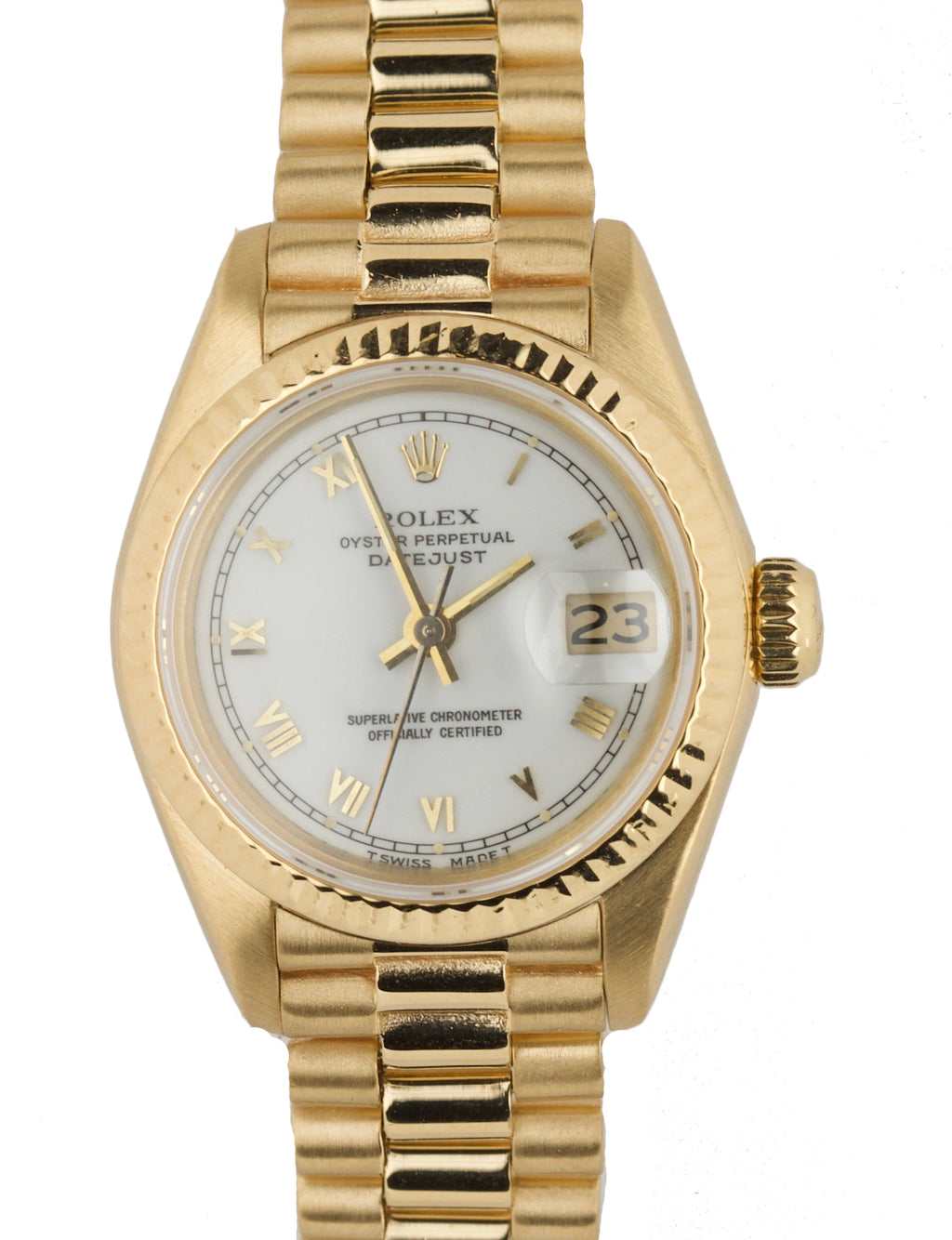 1985 Ladies Rolex DateJust President 26mm White Roman Numeral Dial 69178 Gold