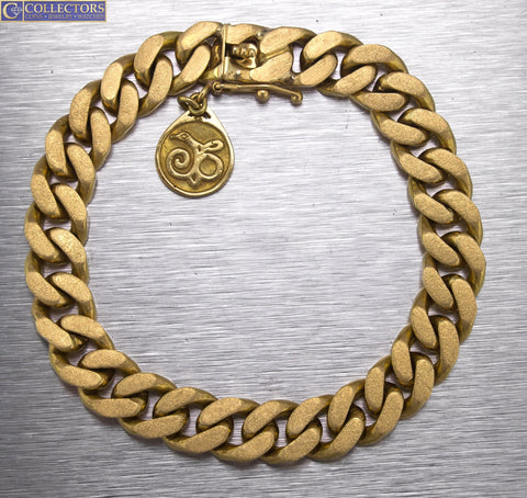 "Men's Modern 18K 750 Yellow Gold Curb Cuban Link 7.00"" Chain Bracelet"