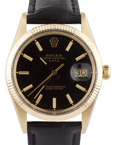1981 Rolex Date 15037 34mm Black Stick 18K Yellow Gold Leather Watch DateJust