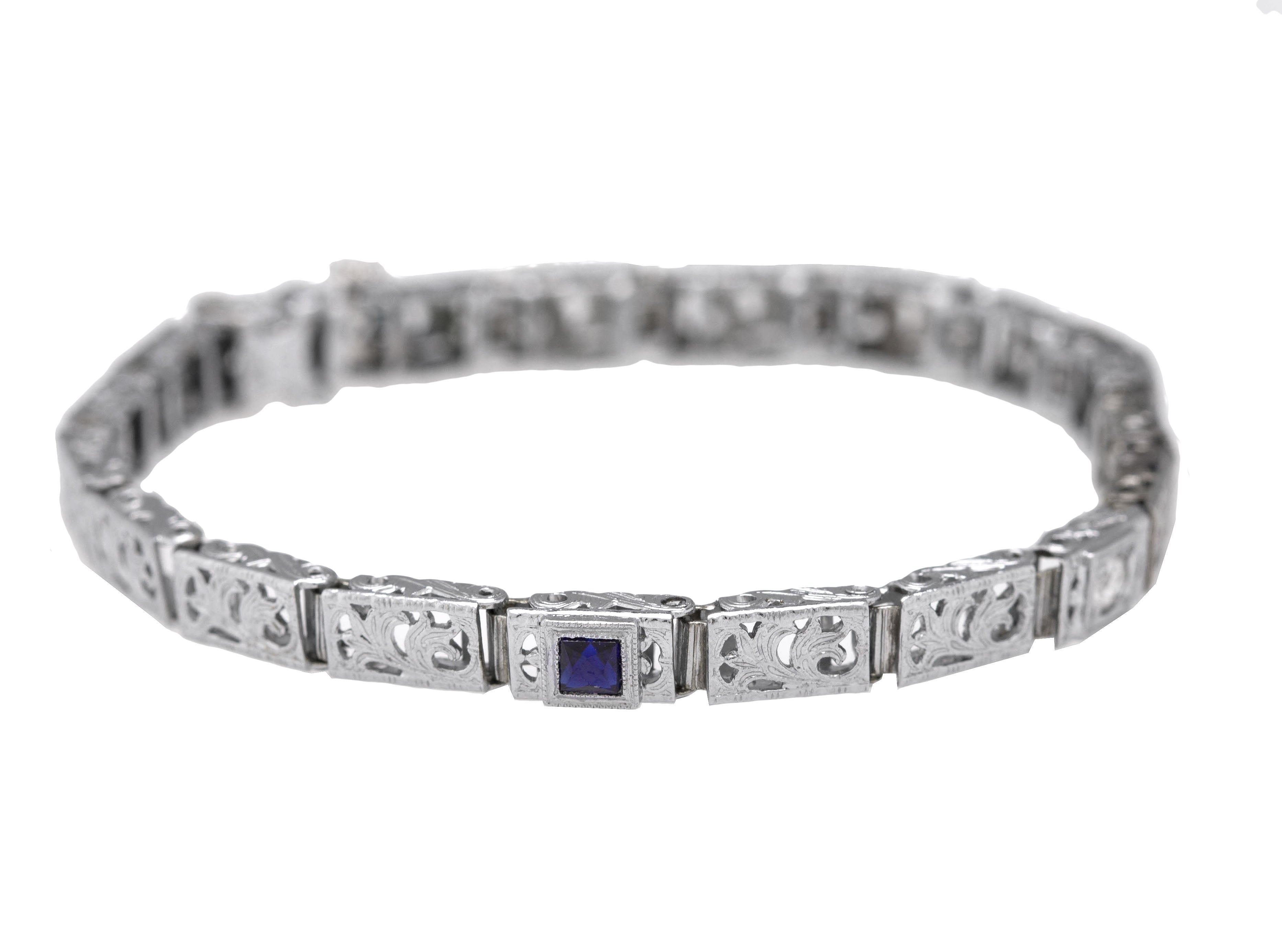 1930s Antique Art Deco 14K White Gold 0.29ctw Sapphire Diamond Filigree Bracelet