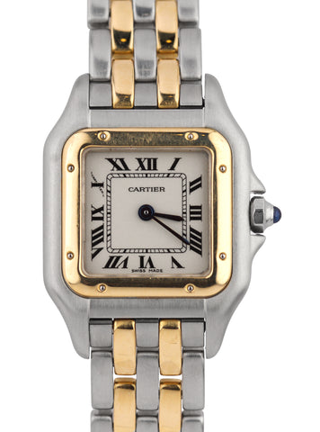 Ladies Cartier Panthere 18K Two Tone Gold Stainless Ivory 22mm Quartz Watch 1120