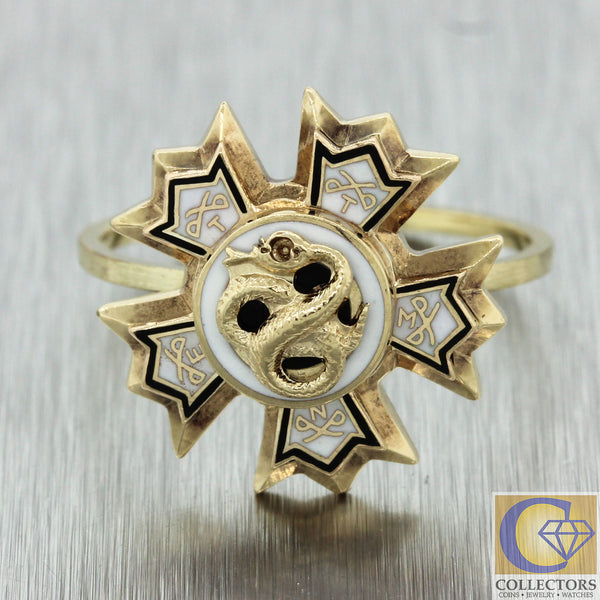 1880s Antique Victorian Estate 14k Yellow Gold Enamel Star Sigma Nu College Ring