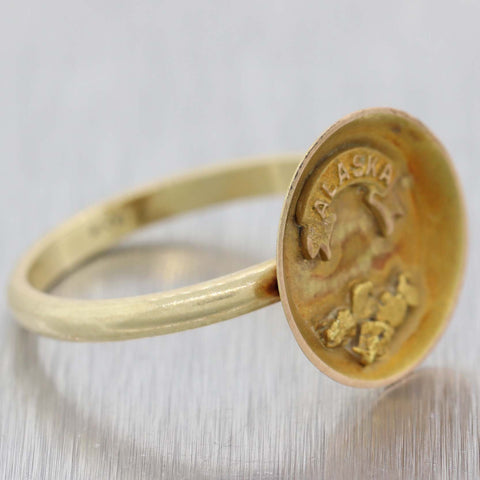 1890s Antique Victorian Alaska 14K Yellow Gold Panning Souvenir Ring