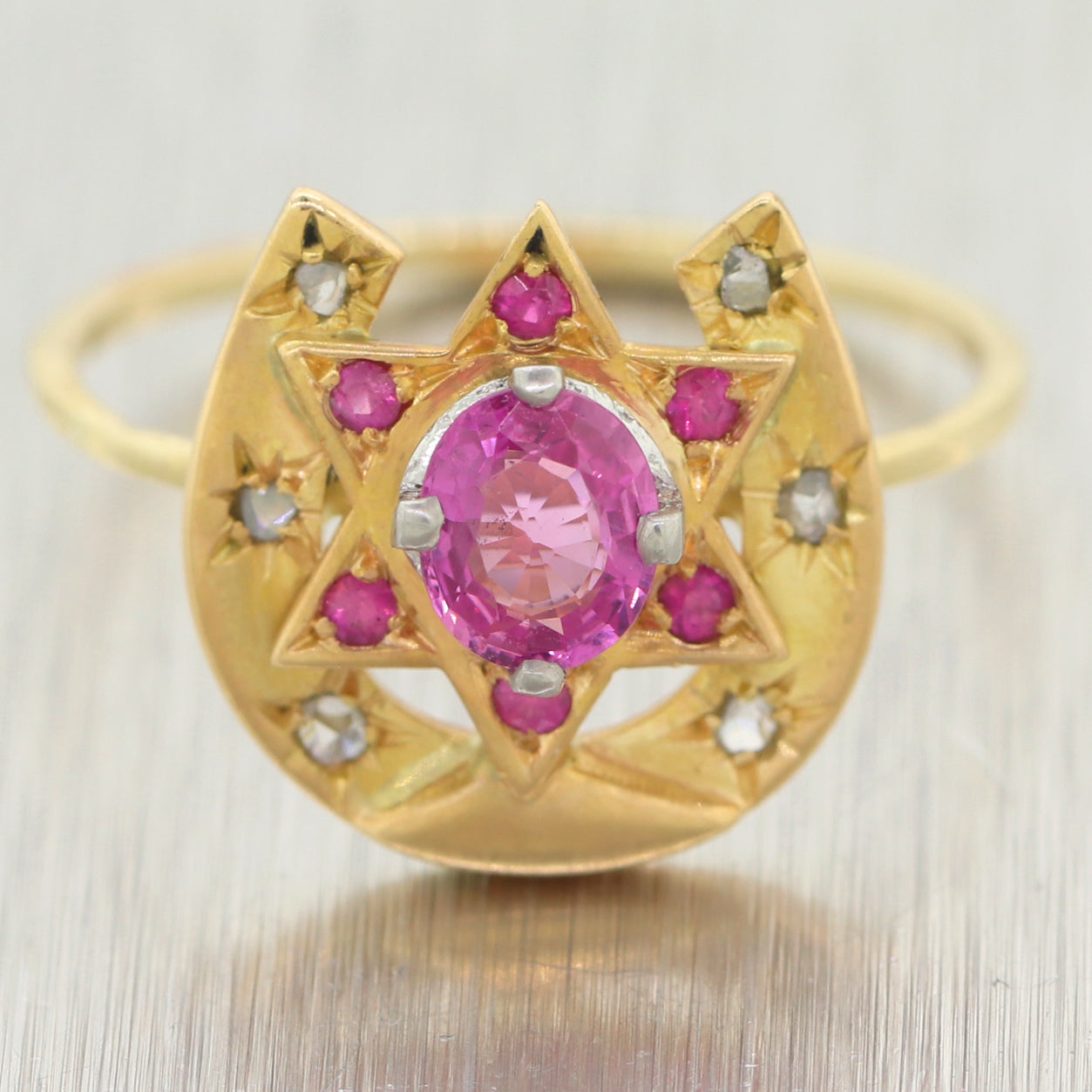 1890s Antique Victorian 14k Yellow Gold Pink Sapphire Diamond Star of David Ring