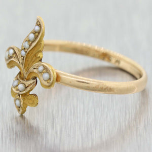 1870s 14K Yellow Gold Fleur De Lis Band Ring