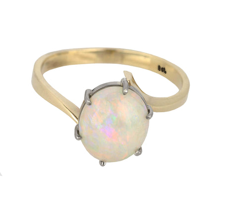 Vintage Estate 9ct Two-Tone Yellow & White Gold Cabochon Opal Cocktail Ring