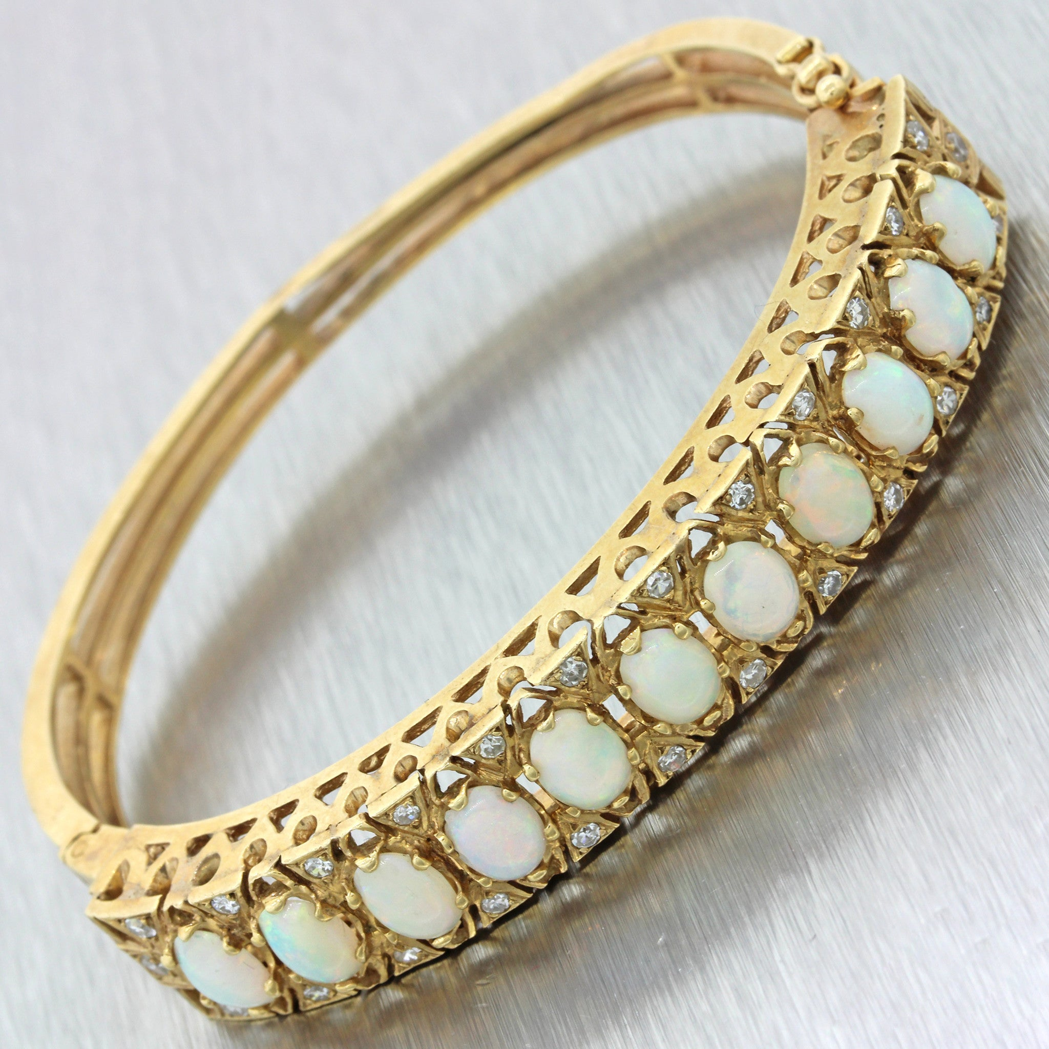 3831d4646611 Vintage Estate 14k Solid Yellow Gold Diamond Opal Filigree Bangle Brac –  Collectors1946.com
