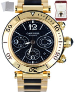 MINT Cartier Pasha Sea Timer 18K Yellow Gold Chronograph 3027 W301970M 42mm