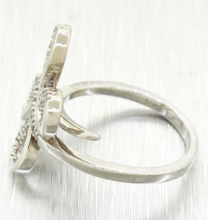 Vintage Estate Womens 14k Solid White Gold 0.30ctw Diamond Butterfly Cocktail Ring