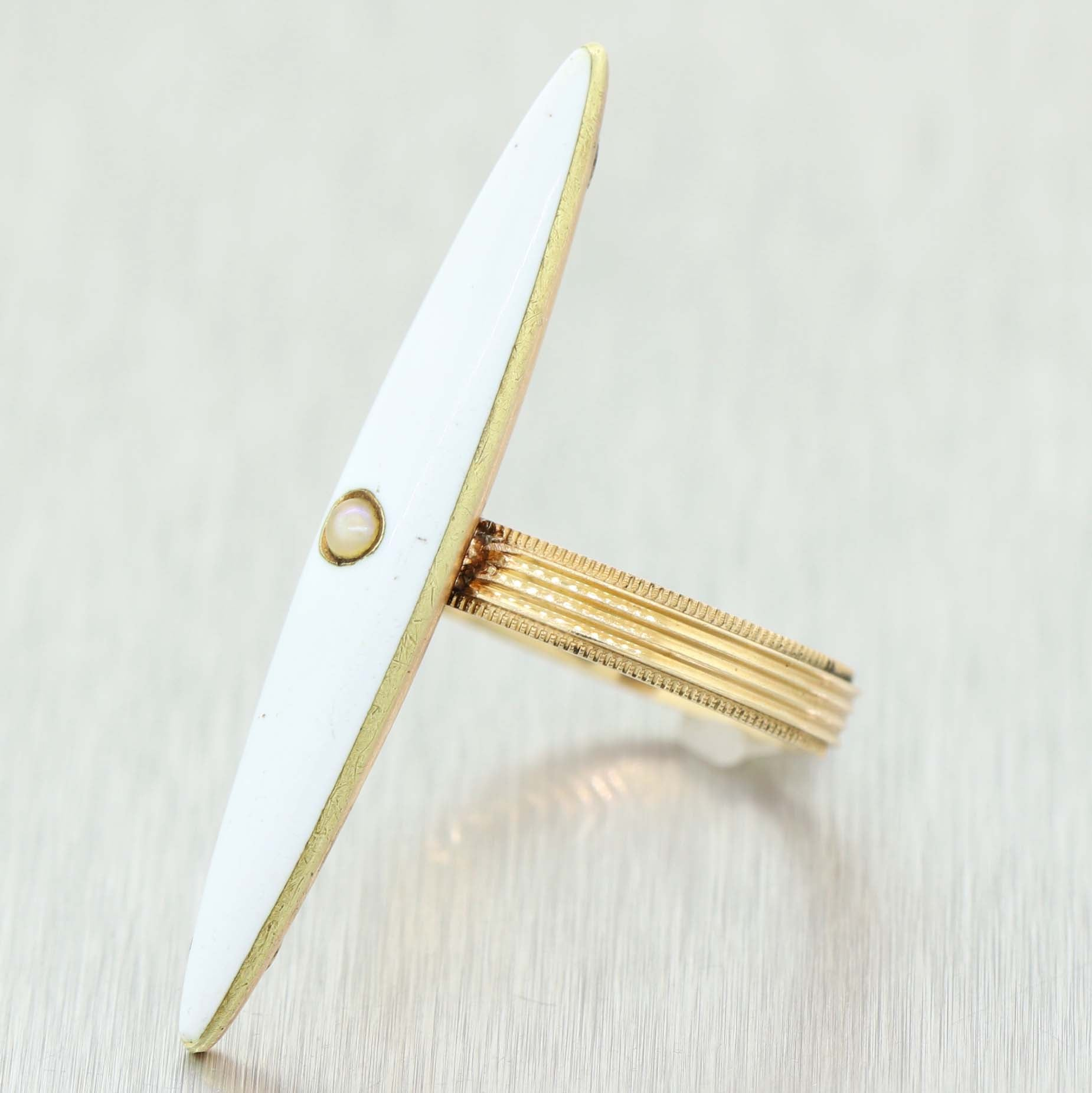 1880s Antique Victorian 14k Yellow Gold Seed Pearl White Enamel Cocktail Ring