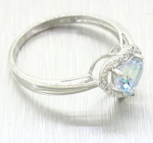 Modern 10k Solid White Gold Blue Topaz Heart Cut & Diamond Ring