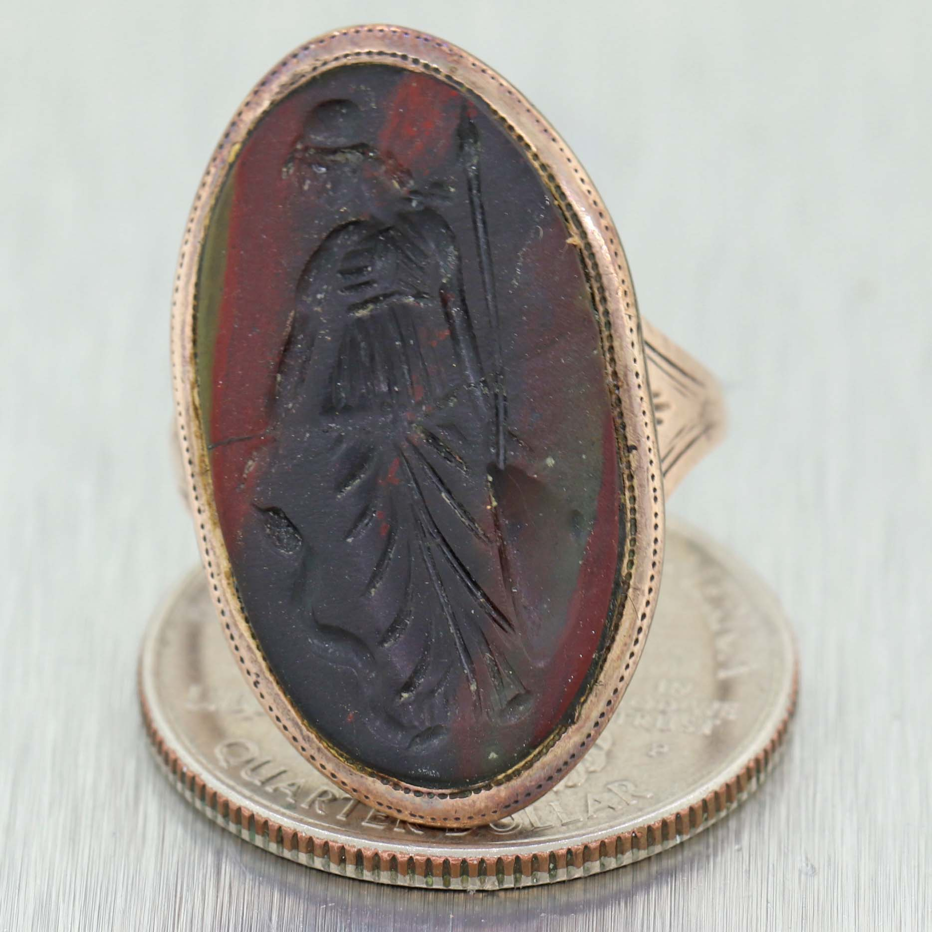 1780s Georgian Carved Agate Mourning Ring