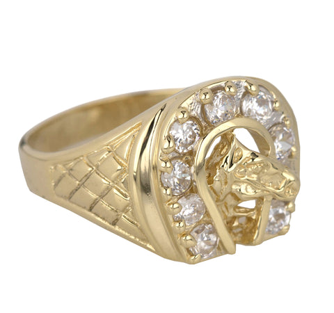 Men's Modern 14k Yellow Gold Cubic Zirconia Equestrian Horse Head Horseshoe Ring
