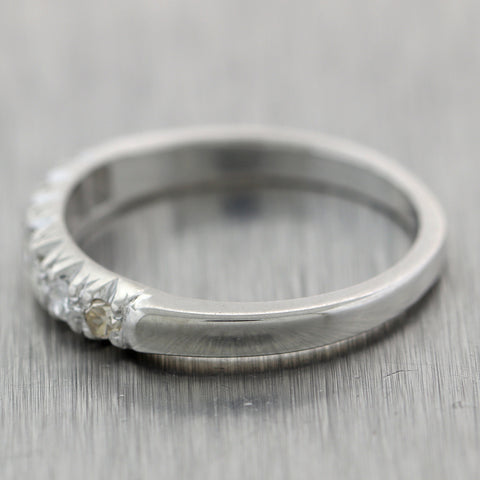 Vintage Estate 14k White Gold 0.25ctw Diamond Wedding Band Ring