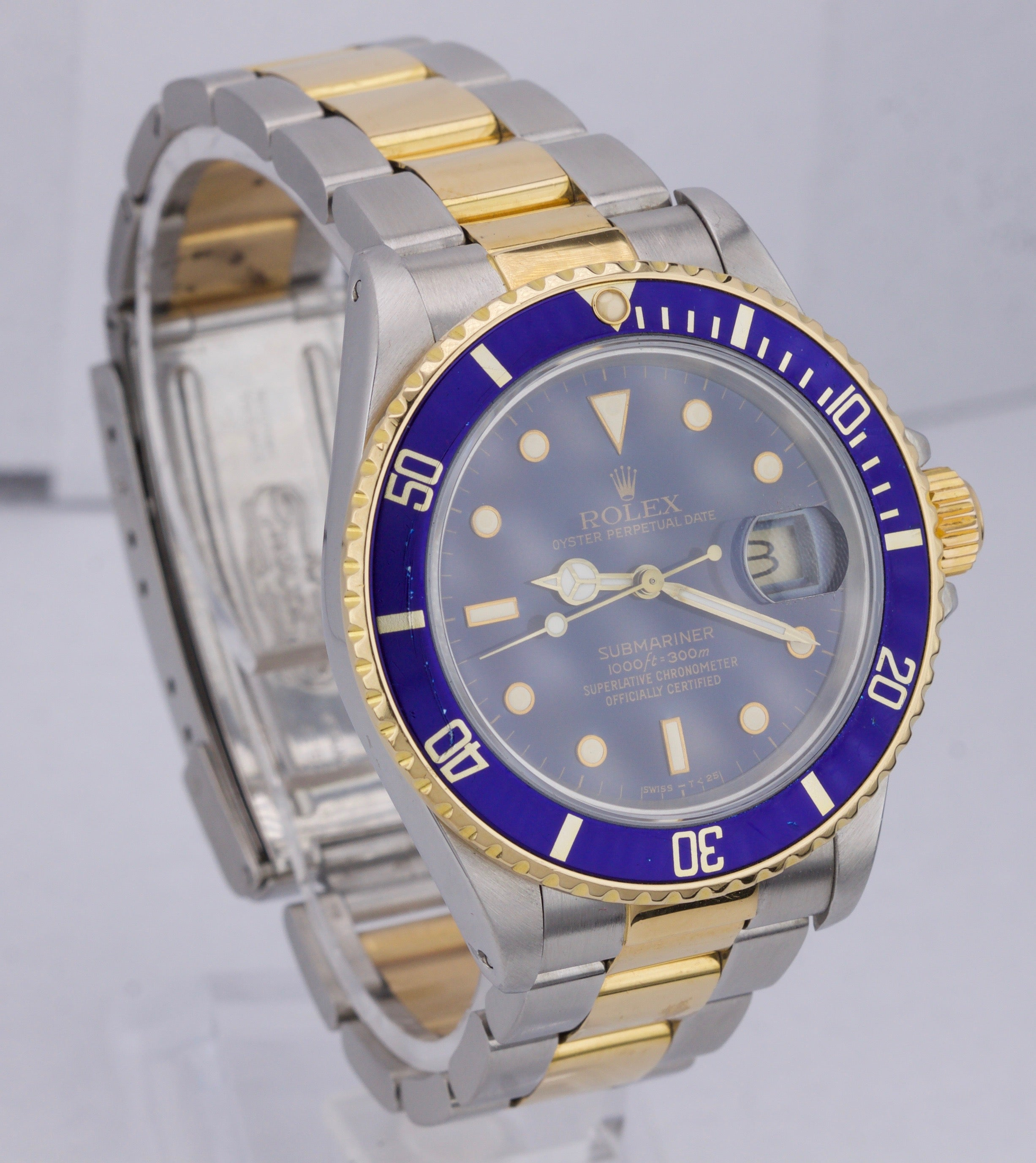 Vintage 1987 Rolex Submariner Date 16803 Patina Two-Tone Gold 40mm Watch 16613