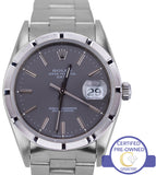 MINT Rolex Date 15210 34mm Silver Stick Stainless Steel Oyster Watch DateJust