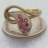 1900s Antique Victorian 14K Yellow Gold Ruby Snake Ring