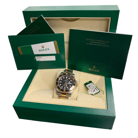 2015 MINT Rolex Submariner Ceramic 116613 LN Two-Tone Gold Black Dive Watch