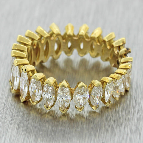 18k Yellow Gold 3ctw Graduated Marquise Diamond Wedding Band Ring