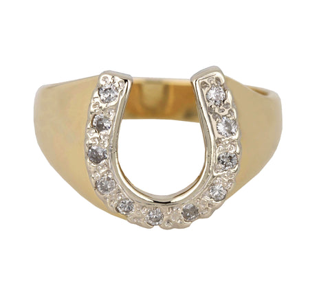 Vintage Estate 14k Yellow Gold 0.22ctw Diamond Lucky Horseshoe Cocktail Ring