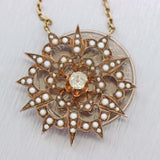 1890s Antique Victorian 14K Yellow Gold Steam Punk Diamond and Seed Pearl Necklace