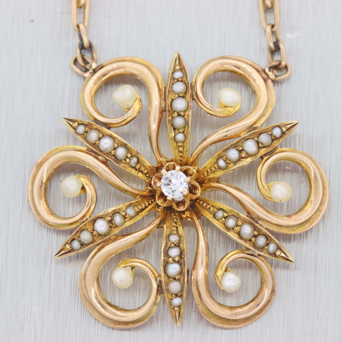 1890s Antique Victorian 14K Yellow Gold Seed Pearl Flower Necklace