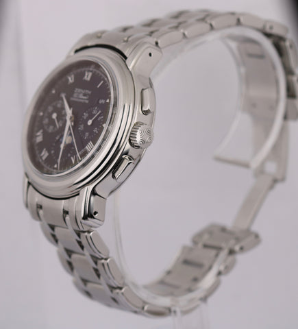 Zenith El Primero 02.0240.410 Chronomaster T Moon Black Dial SS/SS Box & Papers