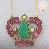 1890s Antique Victorian 14K Yellow Gold Natural Green Emerald Crown Necklace