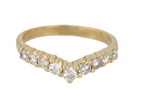 Ladies Vintage Estate 14K Yellow Gold 0.51ctw Diamond 2mm Contoured V-Shape Ring