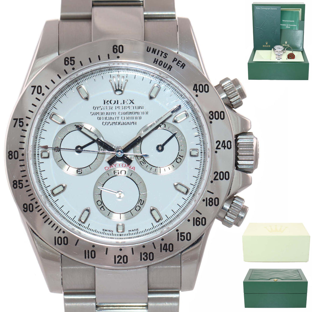 ENGRAVED NEW BUCKLE Rolex Daytona Cosmograph 116520 White Steel Chrono Watch