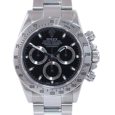 2014 PAPERS Rolex Daytona Cosmograph 116520 Black Steel 40mm Chrono Watch Box